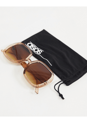 ASOS DESIGN recycled frame oversized 70s sunglasses in crystal brown