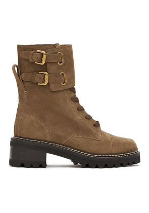 See by Chloe Brown Suede Mallory Mid-Calf Boots