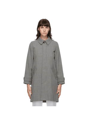 A.P.C. Black and Grey Houndstooth Dinard Coat