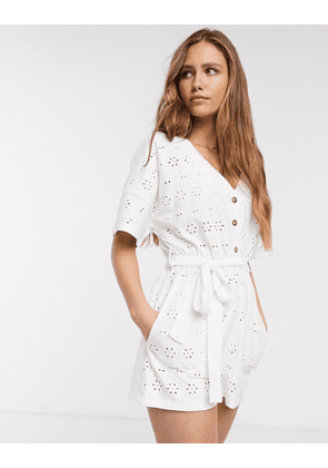 ASOS DESIGN broderie tie waist button front playsuit in white