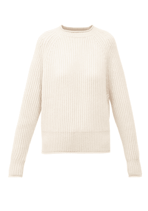Allude - Raglan-sleeve Ribbed-knit Cashmere Sweater - Womens - Beige