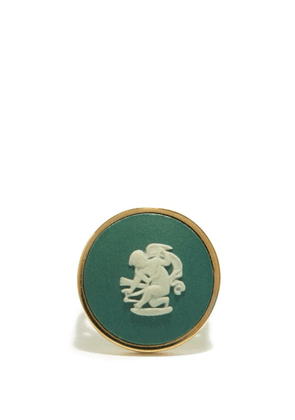 Ferian - Cupid Wedgwood Cameo & 9kt Gold Signet Ring - Womens - Green White