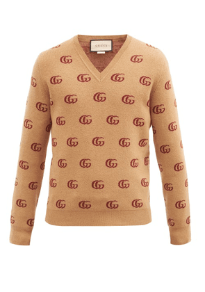 Gucci - V-neck Gg-jacquard Wool Sweater - Mens - Beige
