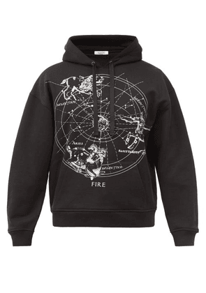 Valentino - Zodiac-print Cotton-blend Jersey Hooded Sweatshirt - Mens - Black
