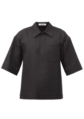 Valentino - Point-collar Twill Shirt - Mens - Black