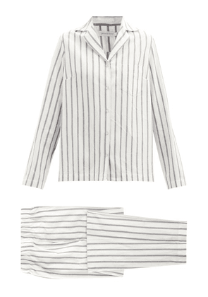 General Sleep - Classic Striped Organic-cotton Pyjama Set - Womens - Blue Stripe