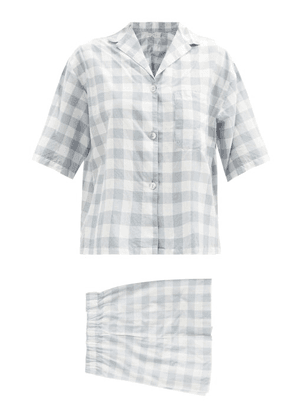General Sleep - Camilla Organic-cotton Gingham Pyjama Set - Womens - Blue Print