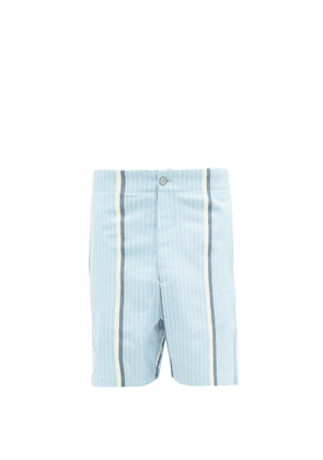 P. Le Moult - Striped Brushed-cotton Pyjama Shorts - Mens - Blue Multi