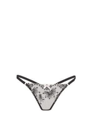 Agent Provocateur - Kaylie Star-embroidered Tulle Thong - Womens - Black Pink