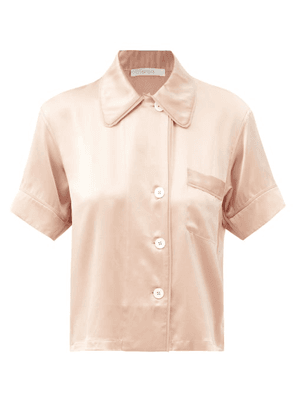 Araks - Shelby Short-sleeve Silk-charmeuse Pyjama Shirt - Womens - Beige