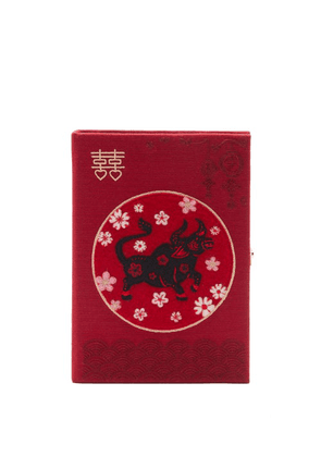 Olympia Le-tan - Chinese New Year Ox-embroidered Clutch - Womens - Burgundy Multi