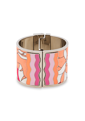 Emilio Pucci Silver-tone, Enamel And Printed Twill Cuff Woman Pink Size S