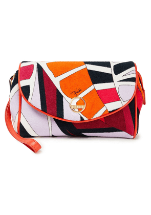 Emilio Pucci Leather-trimmed Printed Terry Cosmetics Case Woman Orange Size --