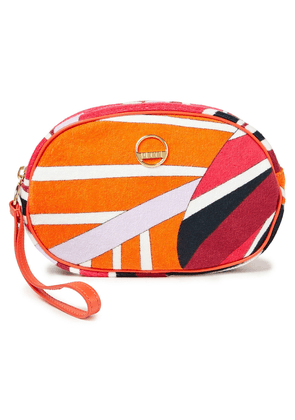 Emilio Pucci Leather-trimmed Printed Cotton-blend Terry Cosmetics Case Woman Bright orange Size --