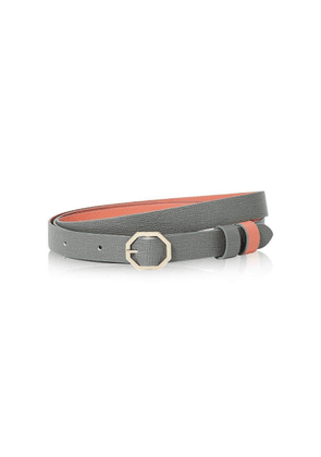 Stacy Chan London Reversible Leather Belt In Grey