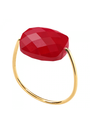 Morganne Bello Yg Cushion Red Quartz Ring (size 53)