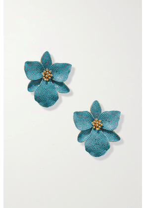 Begüm Khan - Singapore Orchids Gold-plated, Faux Turquoise And Enamel Clip Earrings - Blue