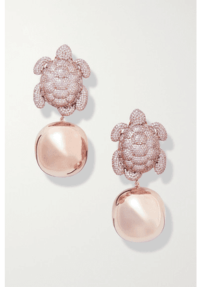 Begüm Khan - Caretta Party Rose Gold-plated Crystal Clip Earrings - Pink