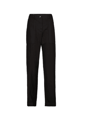 High-rise cotton twill tapered pants