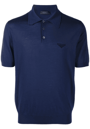 Prada logo print polo shirt - Blue