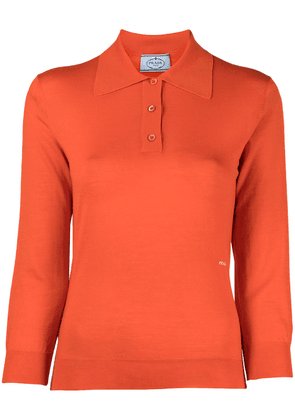 Prada knitted logo polo shirt - Orange