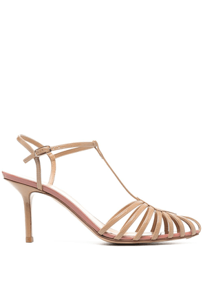 Francesco Russo cut-out detail pointed toe sandals - BEIGe
