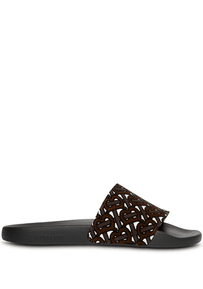 Burberry monogram flocked slides - Brown