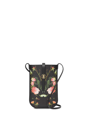 Burberry rose print e-canvas phone case with strap - Black