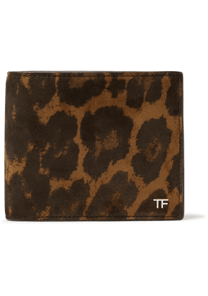 TOM FORD - Leopard-Print Nubuck Billfold Wallet - Men - Brown