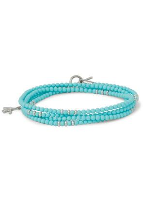 Isaia - Saracino Turquoise and Sterling Silver Beaded Wrap Bracelet - Men - Blue