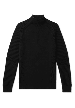 DUNHILL - Ribbed Wool Mock-Neck Sweater - Men - Black