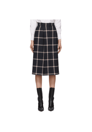 Thom Browne Navy and Red Prince of Wales Single-Pleat Skirt
