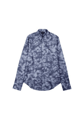 Emporio Armani Navy Tie-dye Stretch-cotton Shirt