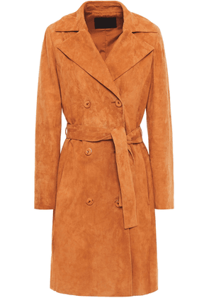 Drome Belted Suede Trench Coat Woman Tan Size XS