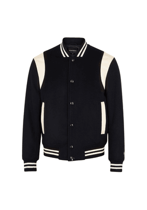 Emporio Armani Navy Panelled Wool And Cashmere-blend Bomber Jacket