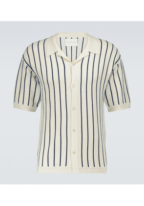 Striped knitted camp-collar shirt