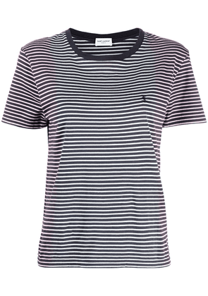 Saint Laurent embroidered logo striped T-shirt - Black