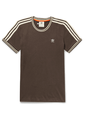adidas Consortium - Wales Bonner Logo-Embroidered Striped Cotton-Blend Jersey T-Shirt - Men - Brown