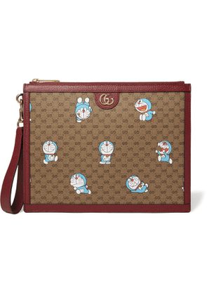 GUCCI - Doraemon Leather-Trimmed Printed Monogrammed Coated-Canvas Pouch - Men - Brown