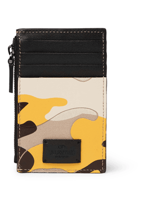 VALENTINO - Valentino Garavani Camouflage-Print Leather and Canvas Zipped Cardholder - Men - Yellow