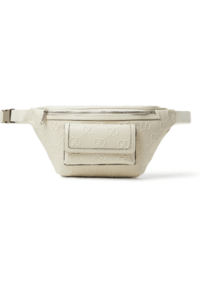 GUCCI - Logo-Embossed Perforated Leather Belt Bag - Men - Neutrals