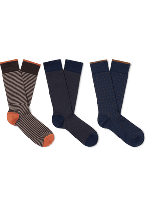 MARCOLIANI - Three-Pack Cotton-Blend Socks - Men - Multi