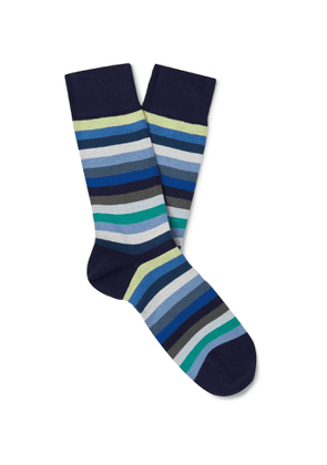 PAUL SMITH - Striped Organic Cotton-Blend Socks - Men - Blue