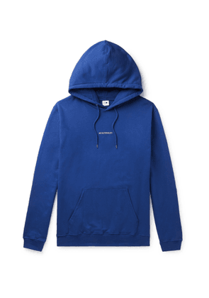 NN07 - Barrow Printed Combed Fleece-Back Cotton-Jersey Hoodie - Men - Blue