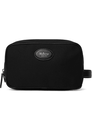 MULBERRY - Leather-Trimmed Nylon Wash Bag - Men - Black