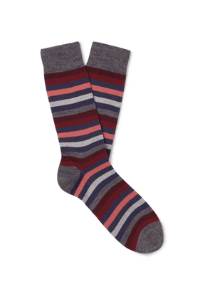 MARCOLIANI - Striped Merino Wool-Blend Socks - Men - Red