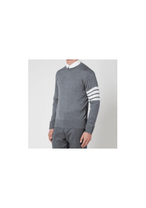 Thom Browne Men's Four-Bar White Stripe Classic Crewneck Jumper - Medium Grey - 1/S