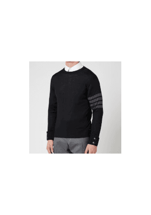 Thom Browne Men's Four-Bar Stripe Classic Crewneck Jumper - Black - 1/S