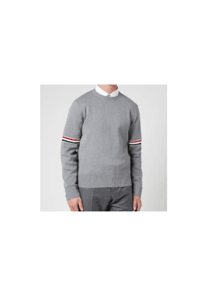 Thom Browne Men's Tricolour Stripe Crewneck Jumper - Light Grey - 1/S
