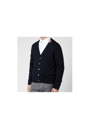 Thom Browne Men's Tricolour Tab Relaxed Fit V-Neck Cardigan - Navy - 1/S